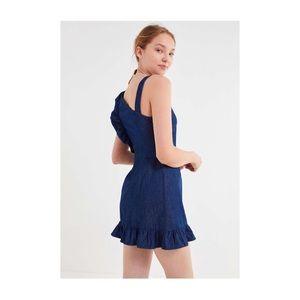 Urban Outfitters Dresses - Uo Chambray Asymmetrical Ruffle Mini Dress
